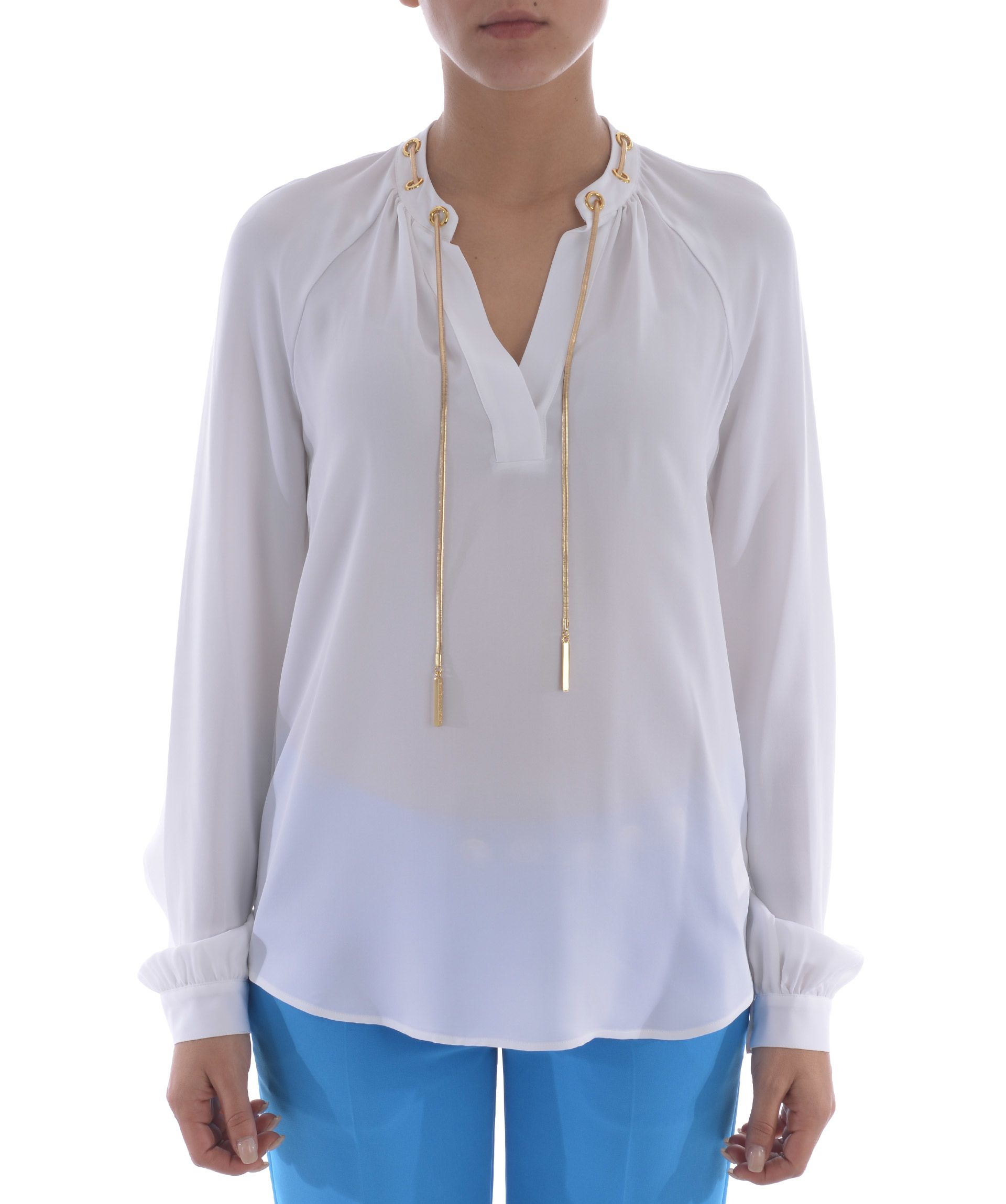 michael kors michael kors silk blouse bianco women 39 s bluse italist. Black Bedroom Furniture Sets. Home Design Ideas