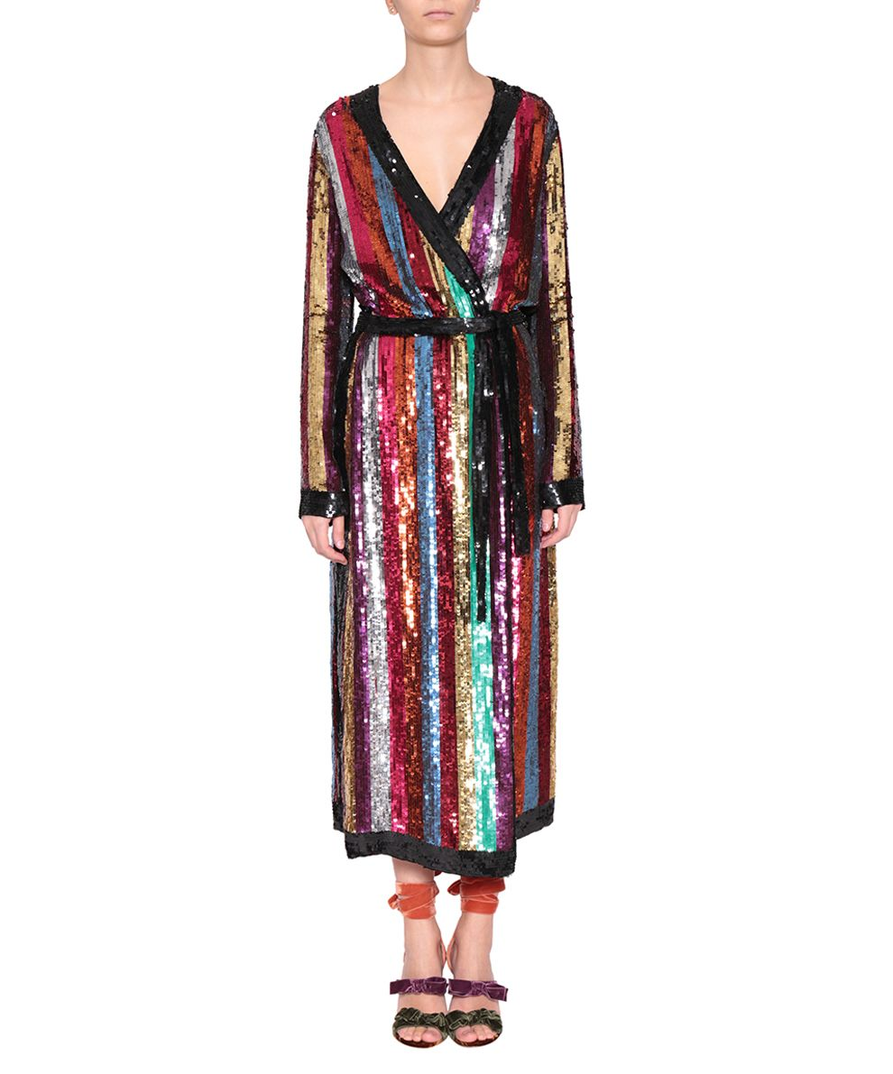 Attico Grace Striped Sequined Georgette Wrap Dress Multi