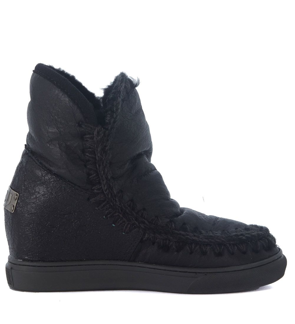 mou mou wedge eskimo black leather ankle boots nero