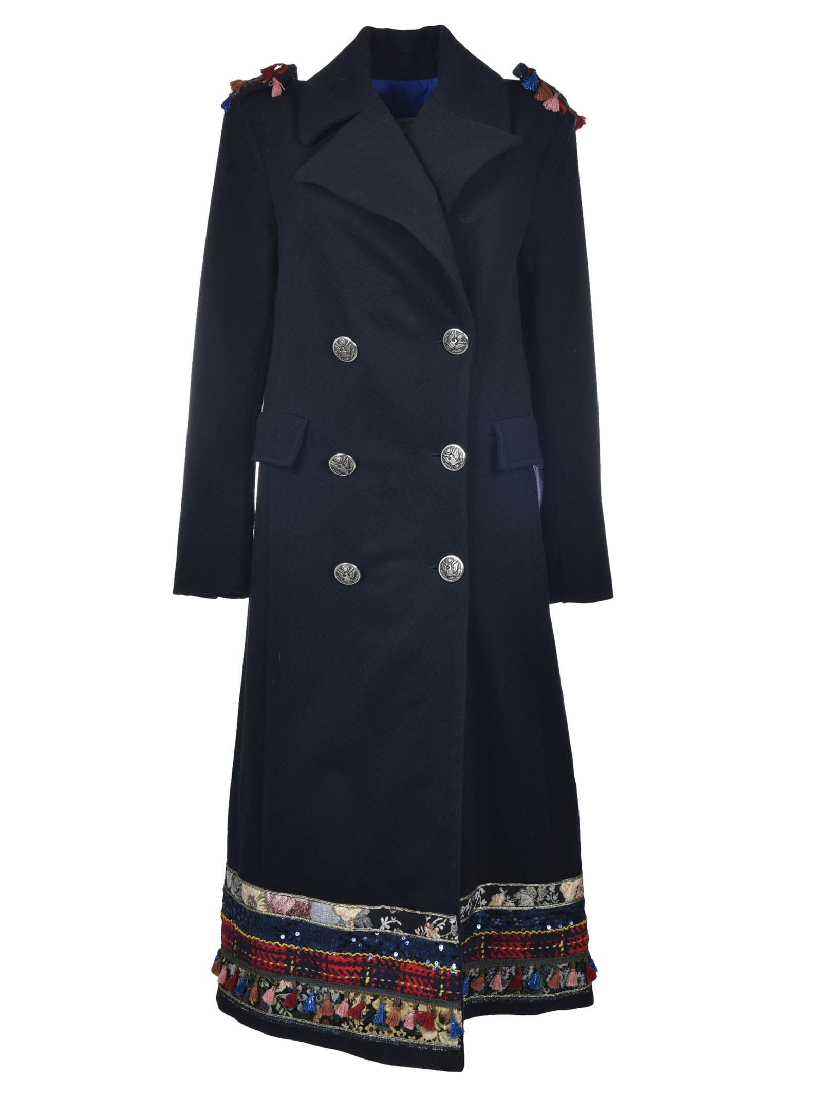 History Repeats Tassel Trim Double Breasted Coat