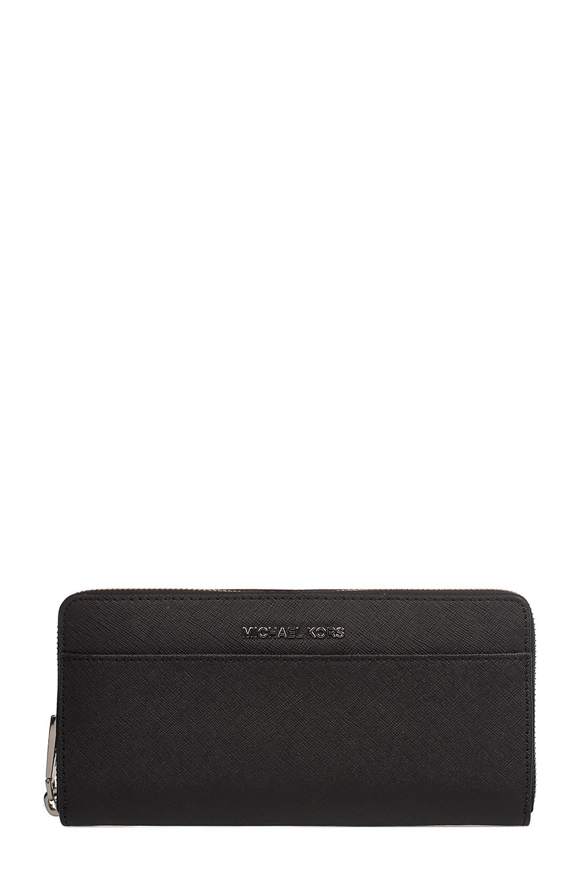Black Zip Round Money Pieces Saffiano Leather Wallet