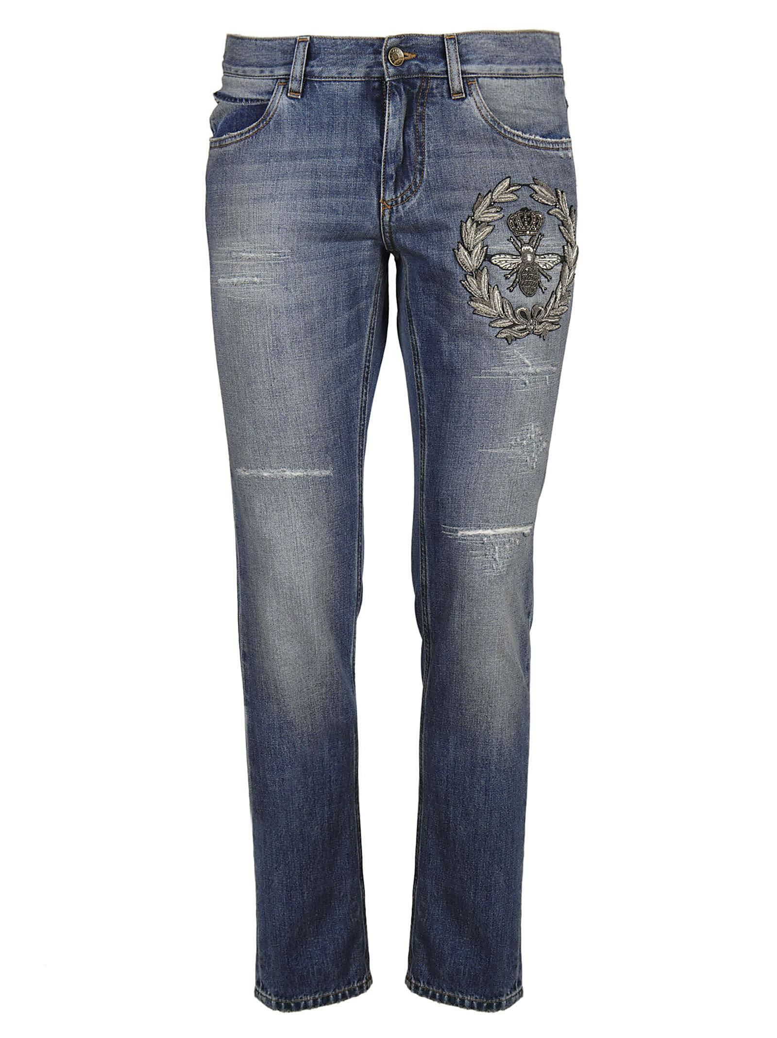 Dolce & Gabbana Crowned Bee Embroidered Jeans