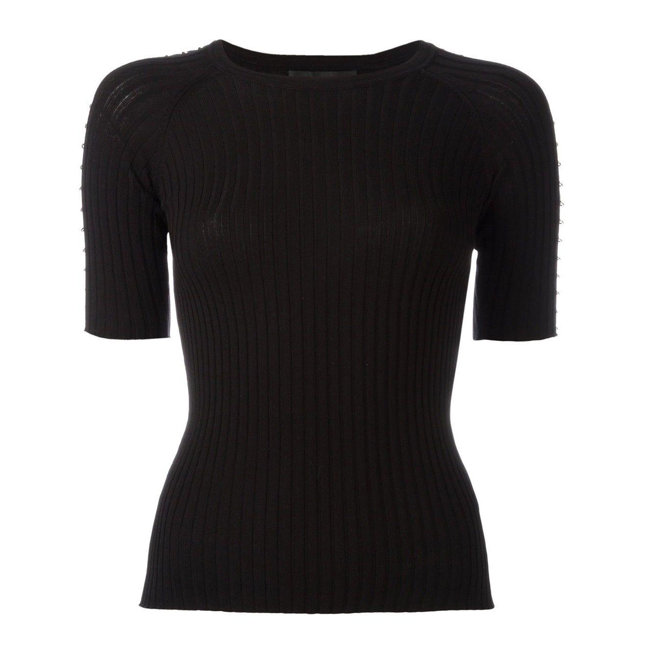Alexander Wang Black Piercings Ribbed Sweater