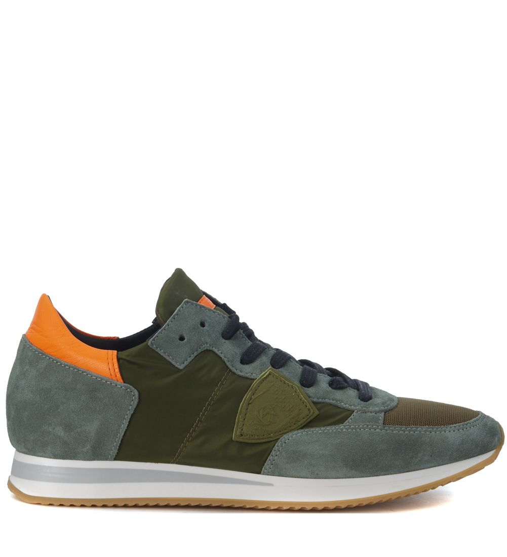 Philippe Model Tropez Dark Green Suede And Fabric Sneaker
