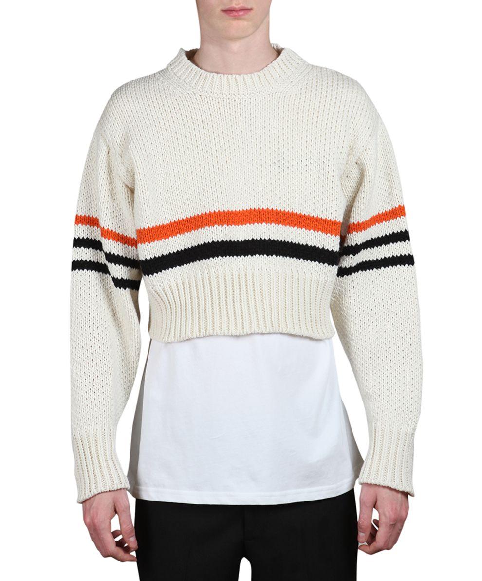 Raf Simons - Raf Simons Cropped Wool Striped Sweater - BIANCO ...