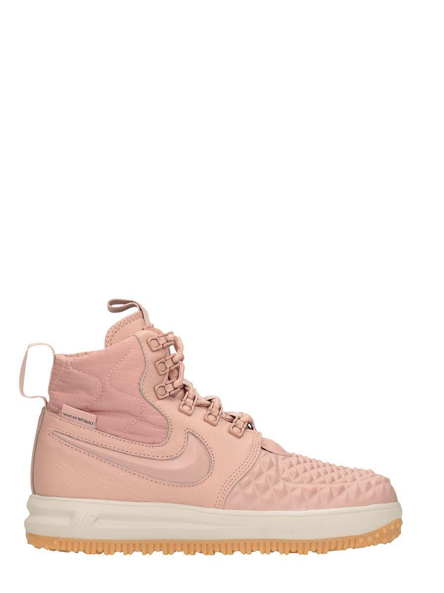 Nike Lunar Force 1 Duckboot Pink Leather Sneakers
