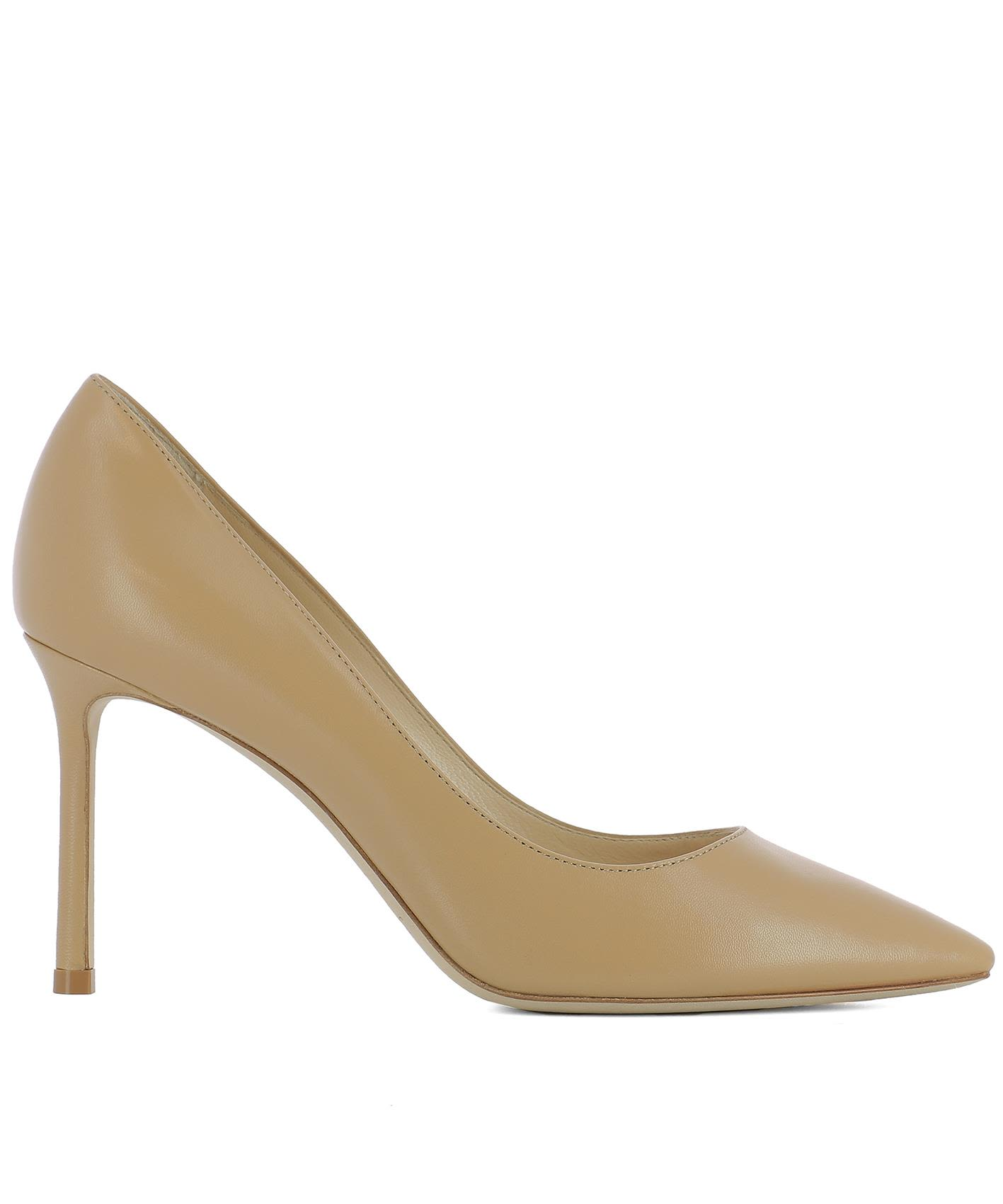 Beige Leather Romy 85 Pumps