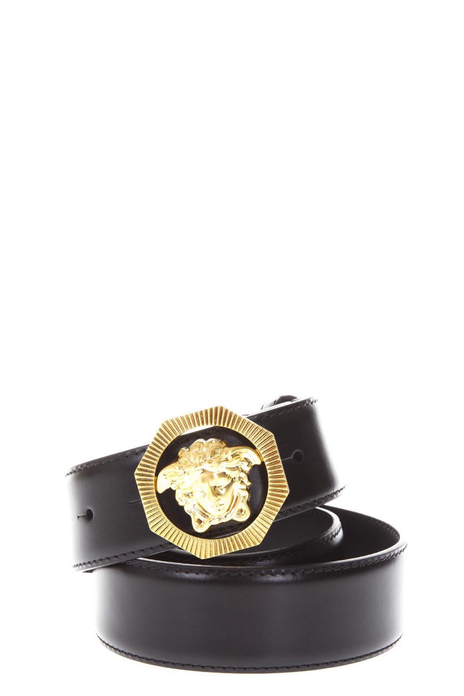 Versace Medusa Black Leather Belt