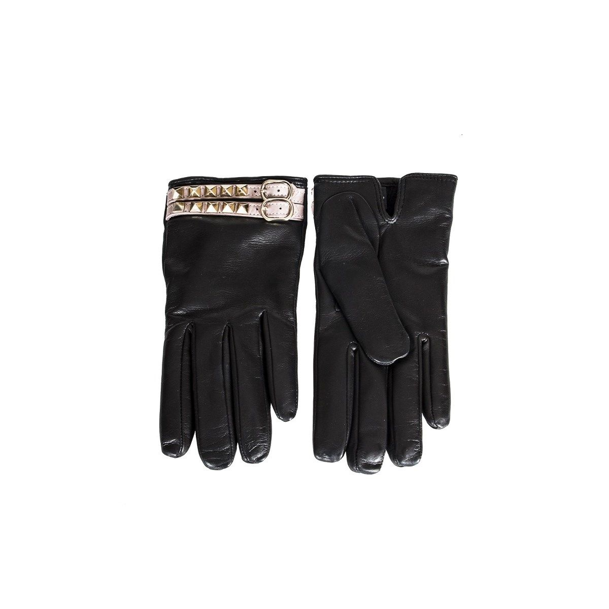 Black Leather Rockstud Gloves