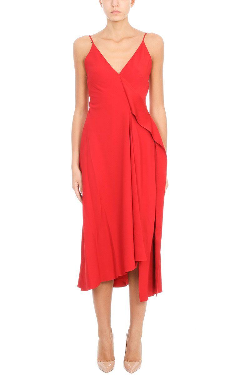 Victoria Beckham Red Crepe Asymmetric Shift Dress