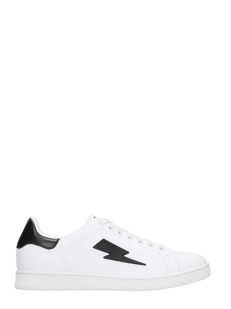 Neil Barrett Logo Sneakers In White Leather