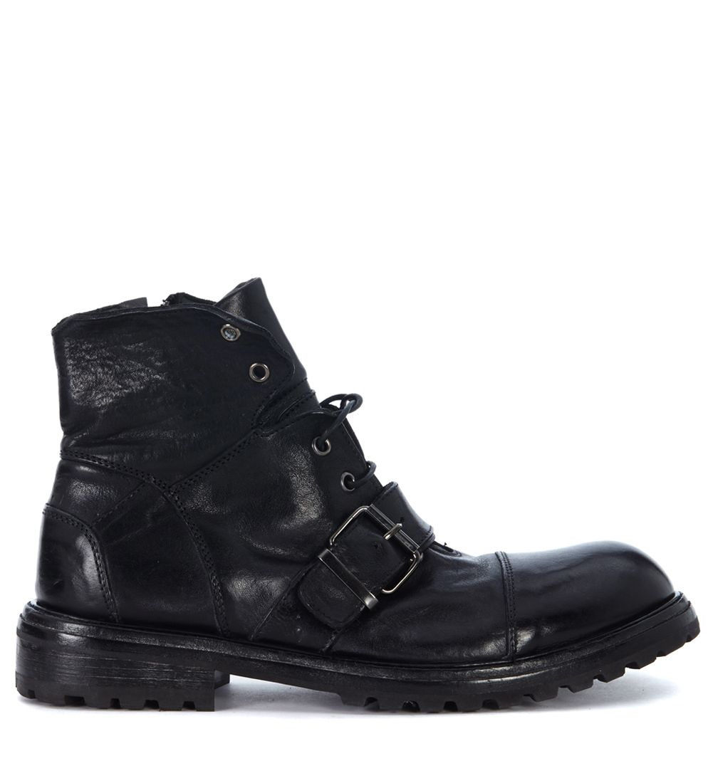 Moma Black Leather Ankle Boots With Laces And Buckle