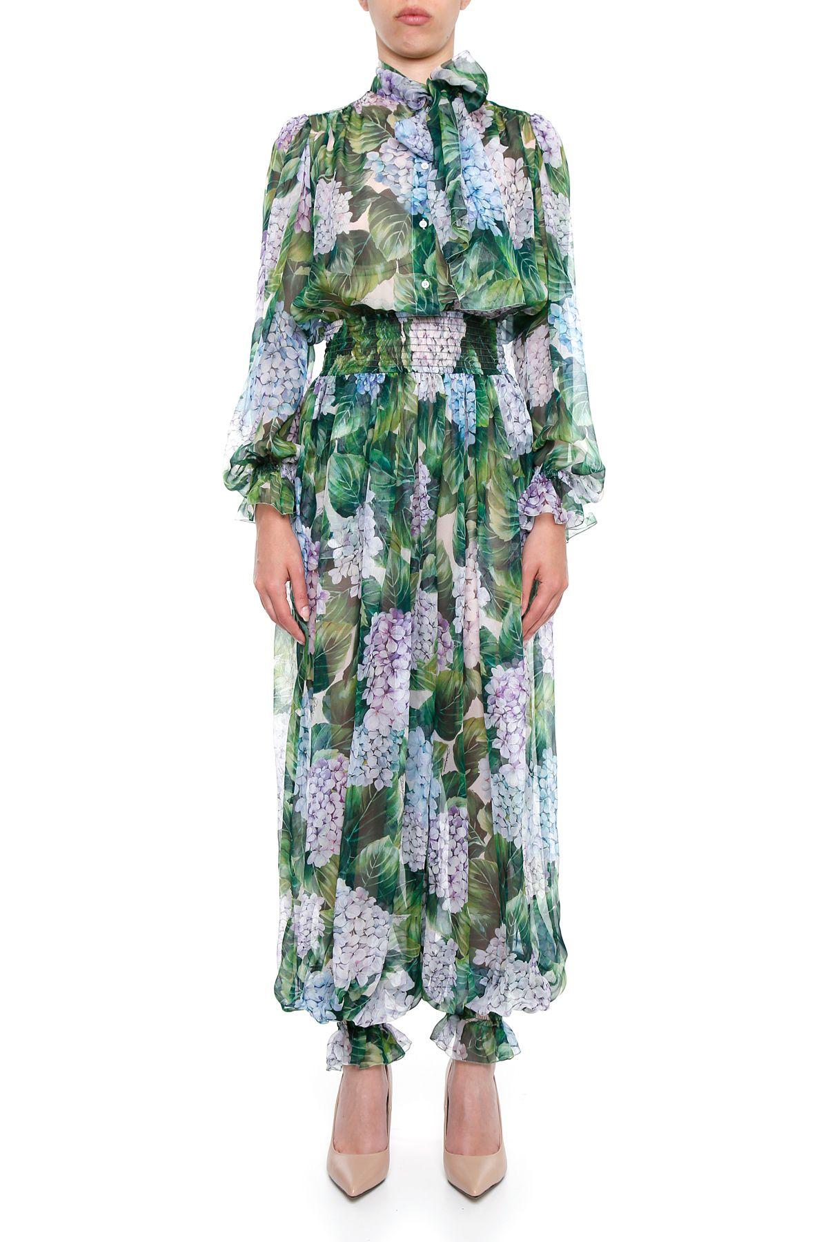 Hydrangea Silk Chiffon Jumpsuit
