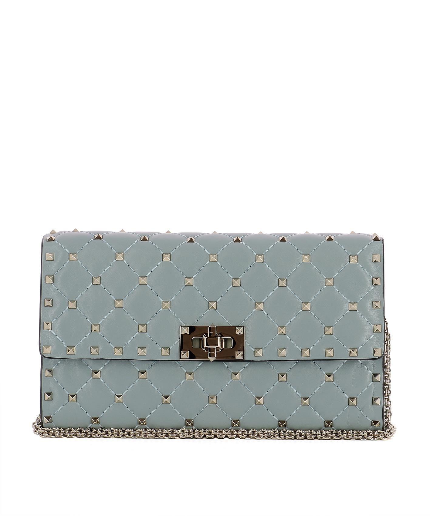 Light Blue Leather Shoulder Bag