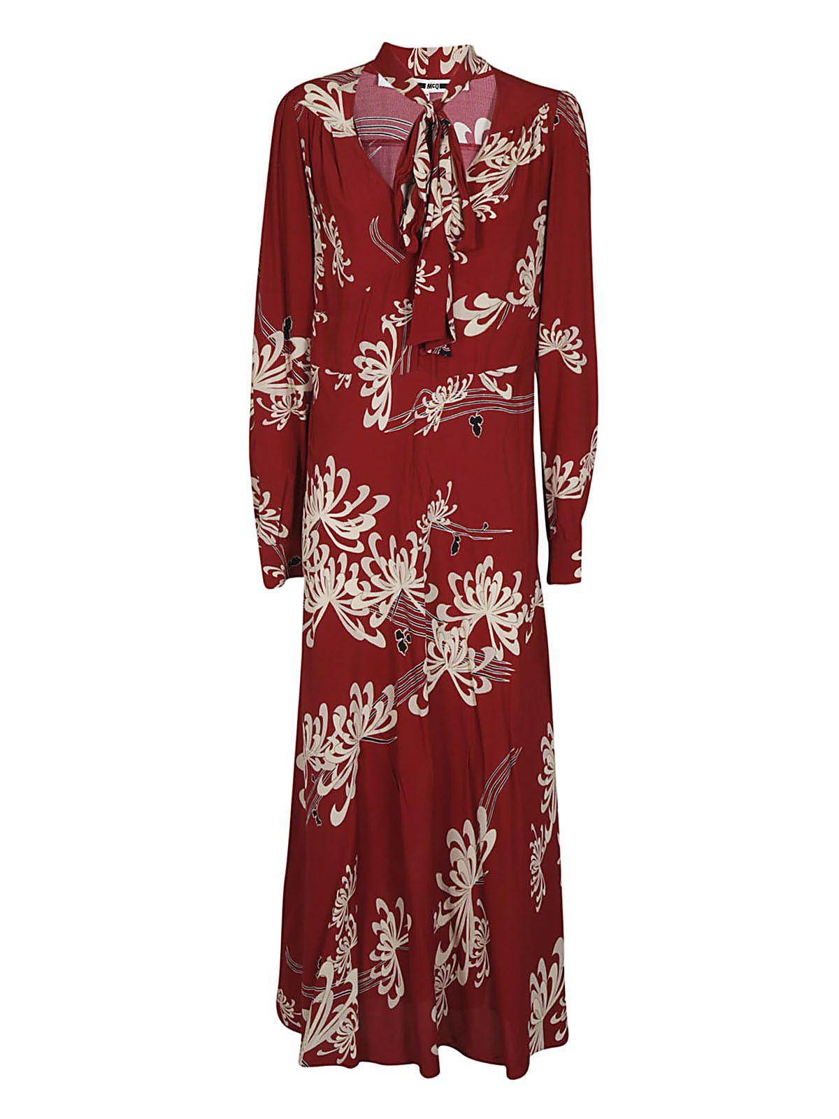 Mcq Alexander Mcqueen Pussy-bow Floral Print Dress