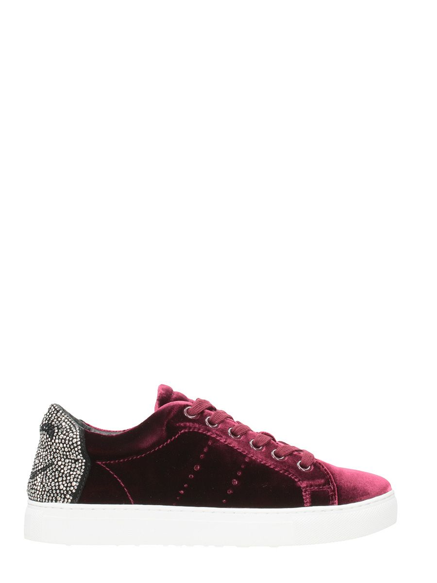 Lola Cruz Burgundy Velvet Sneakers