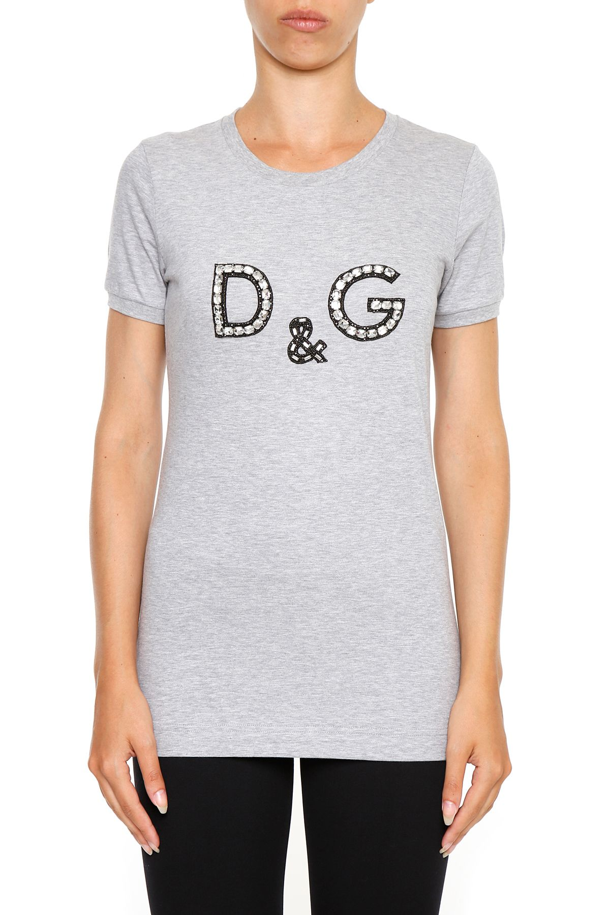 Dolce gabbana logo t shirt melange grigio grigio for Dolce gabbana t shirt women