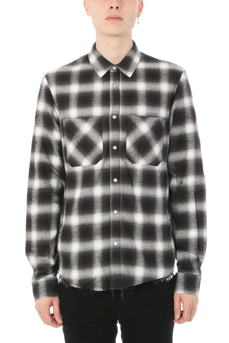 Amiri amiri core flannel black wool shirt black men 39 s for Mens wool flannel shirt