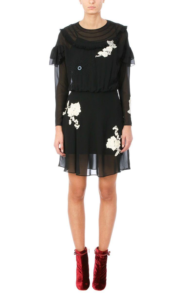 RED Valentino Black Georgette Dress