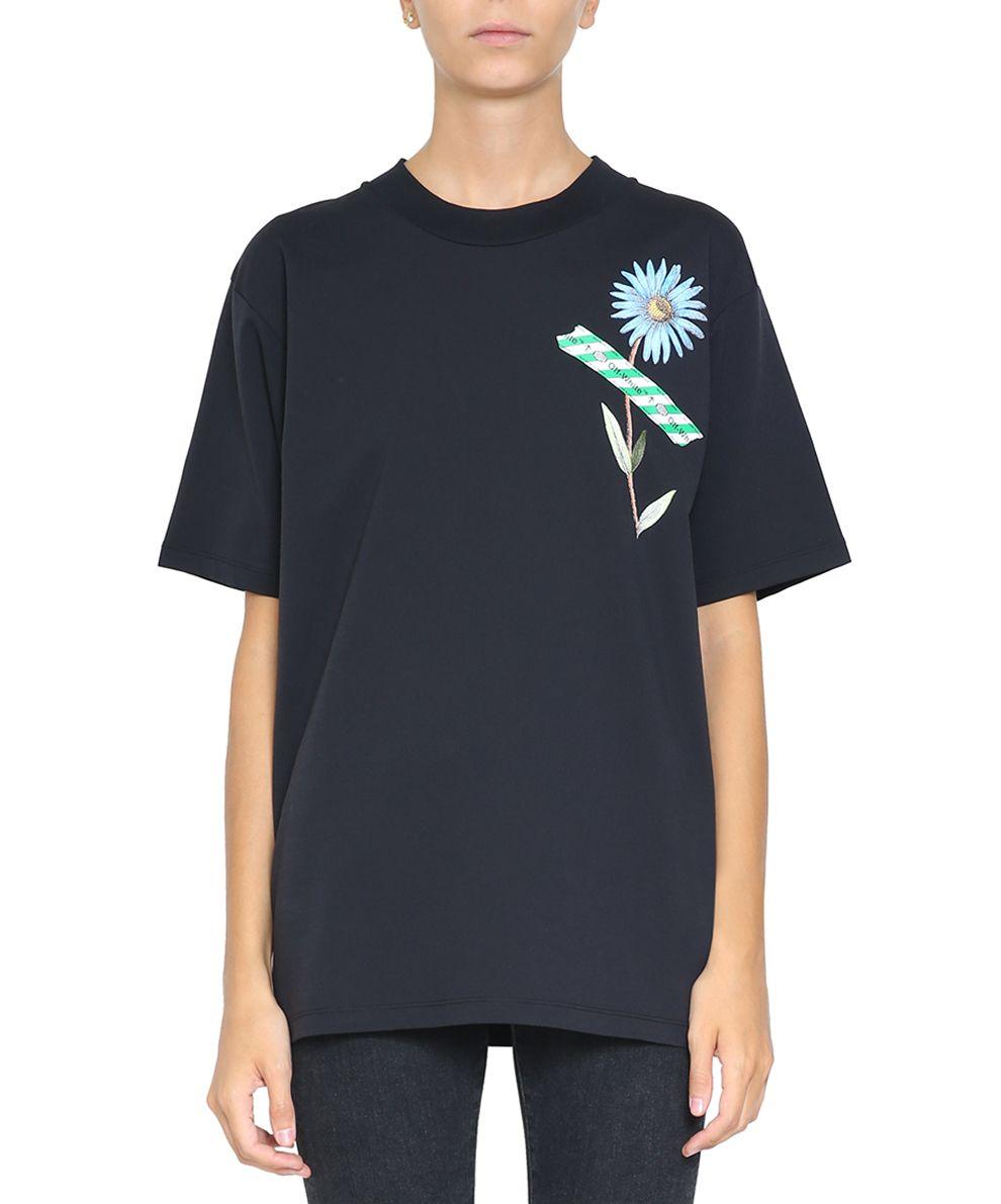 Off-White Flower Tape Oversized Cotton T-shirt