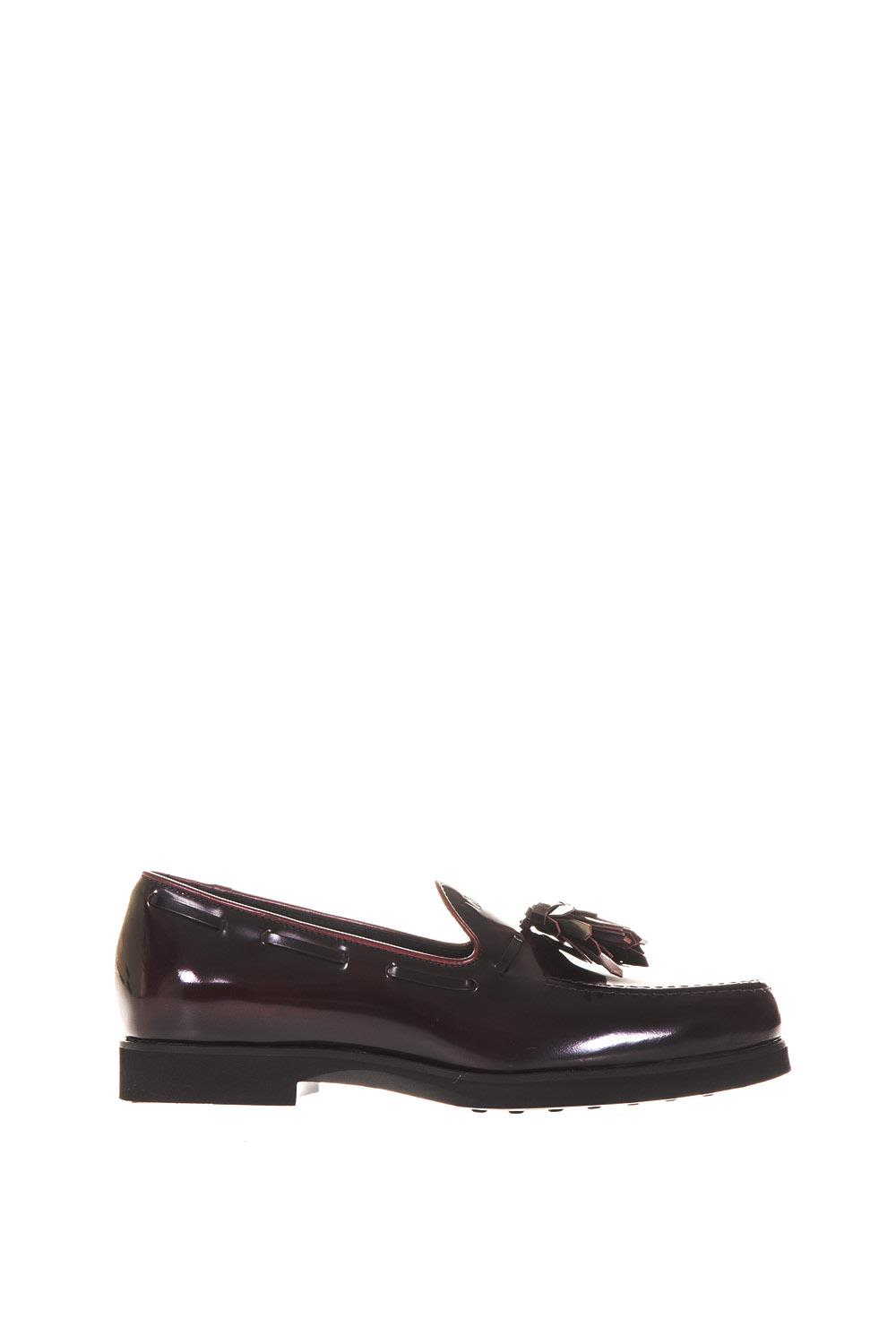 Tods Brushed Leather Loafers With Tassel
