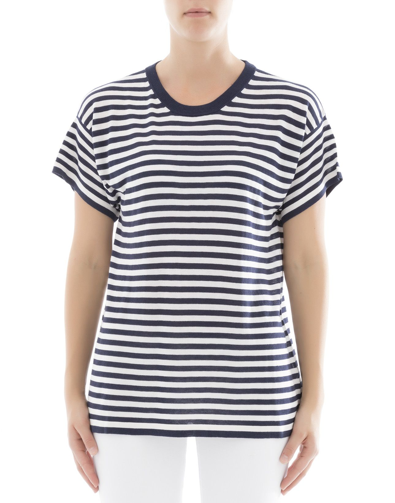 Blue And White Striped Silk T-shirt