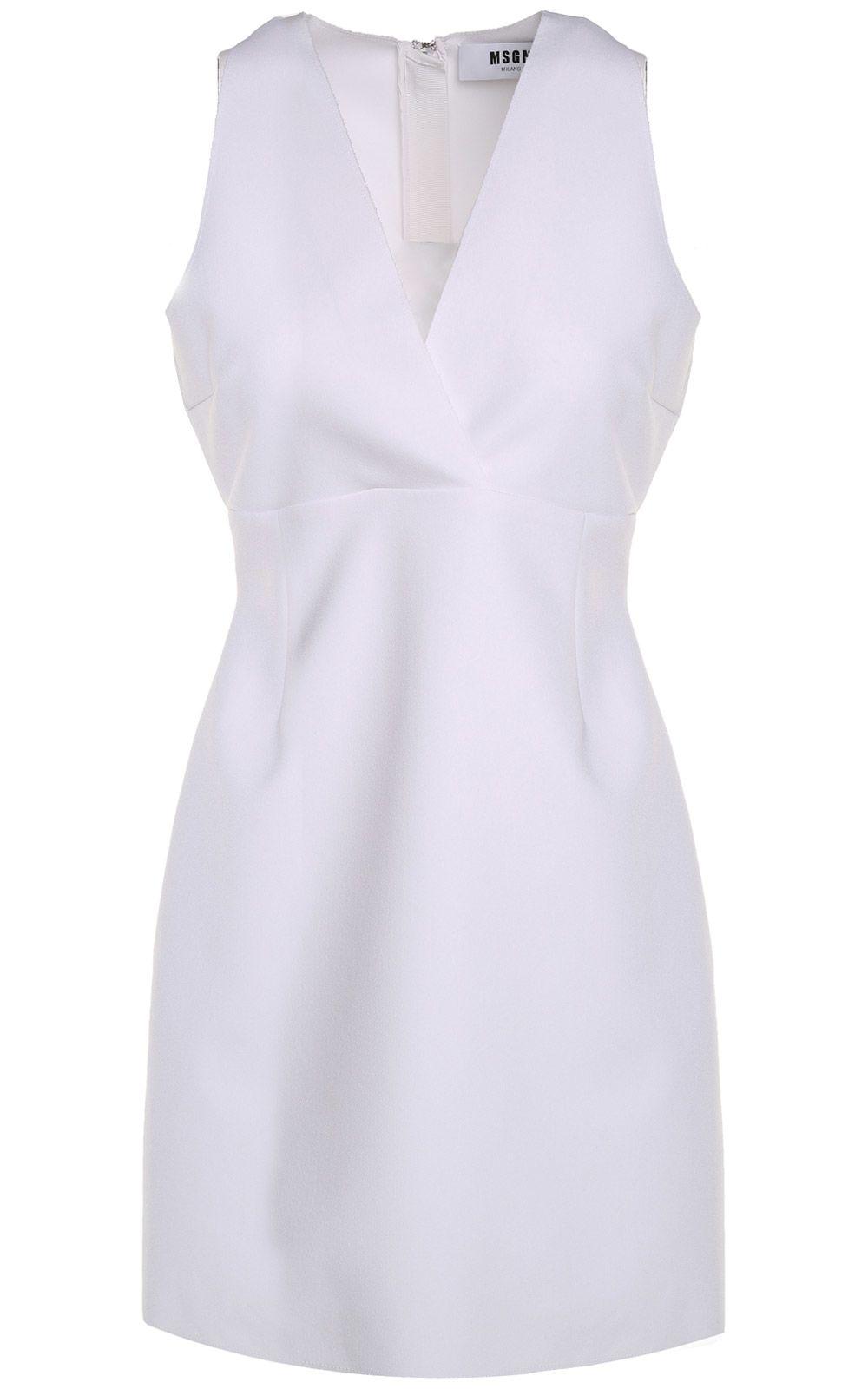 MSGM V-neck Crepe Mini Dress