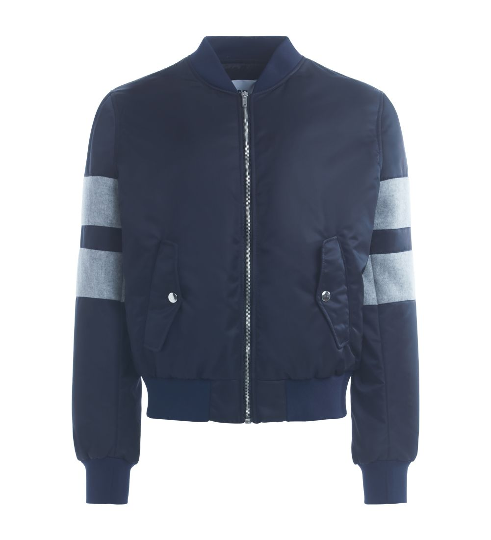 Msgm Blue Bomber Jacket With Grey Inserts