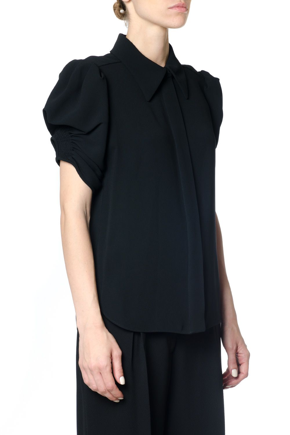 Chloé Collared Blouse With Ruched Short Sleeves