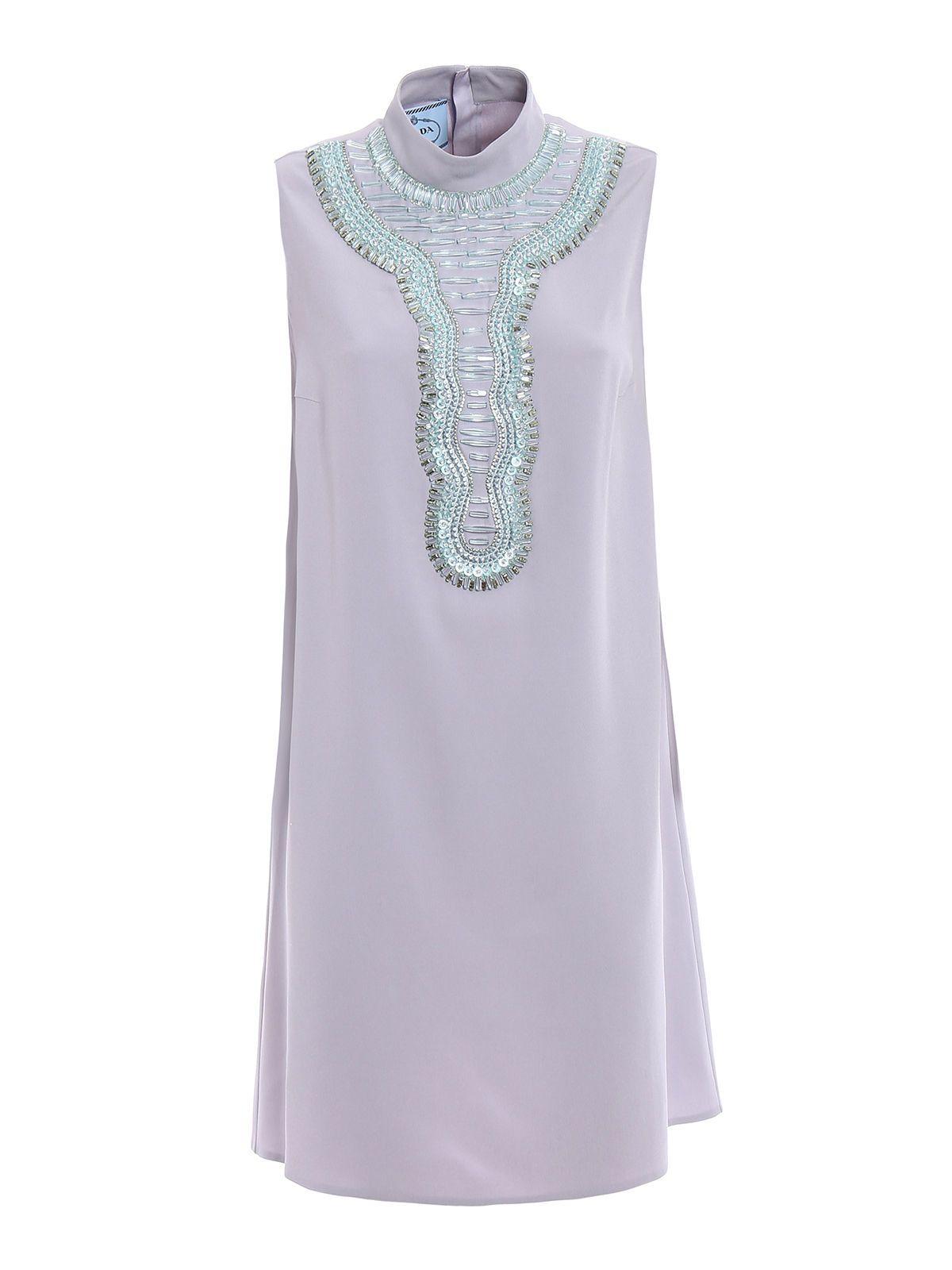 Prada Sable Raso Crystal Dress
