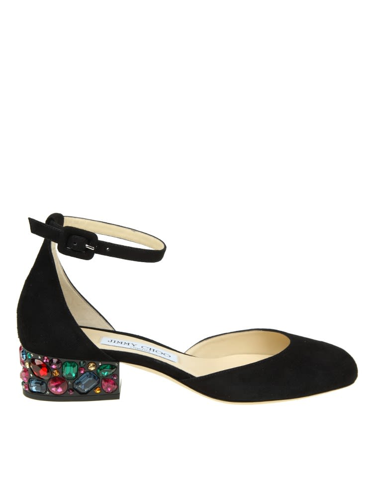Jimmy Choo Shoe marnie In Black Suede With Stones