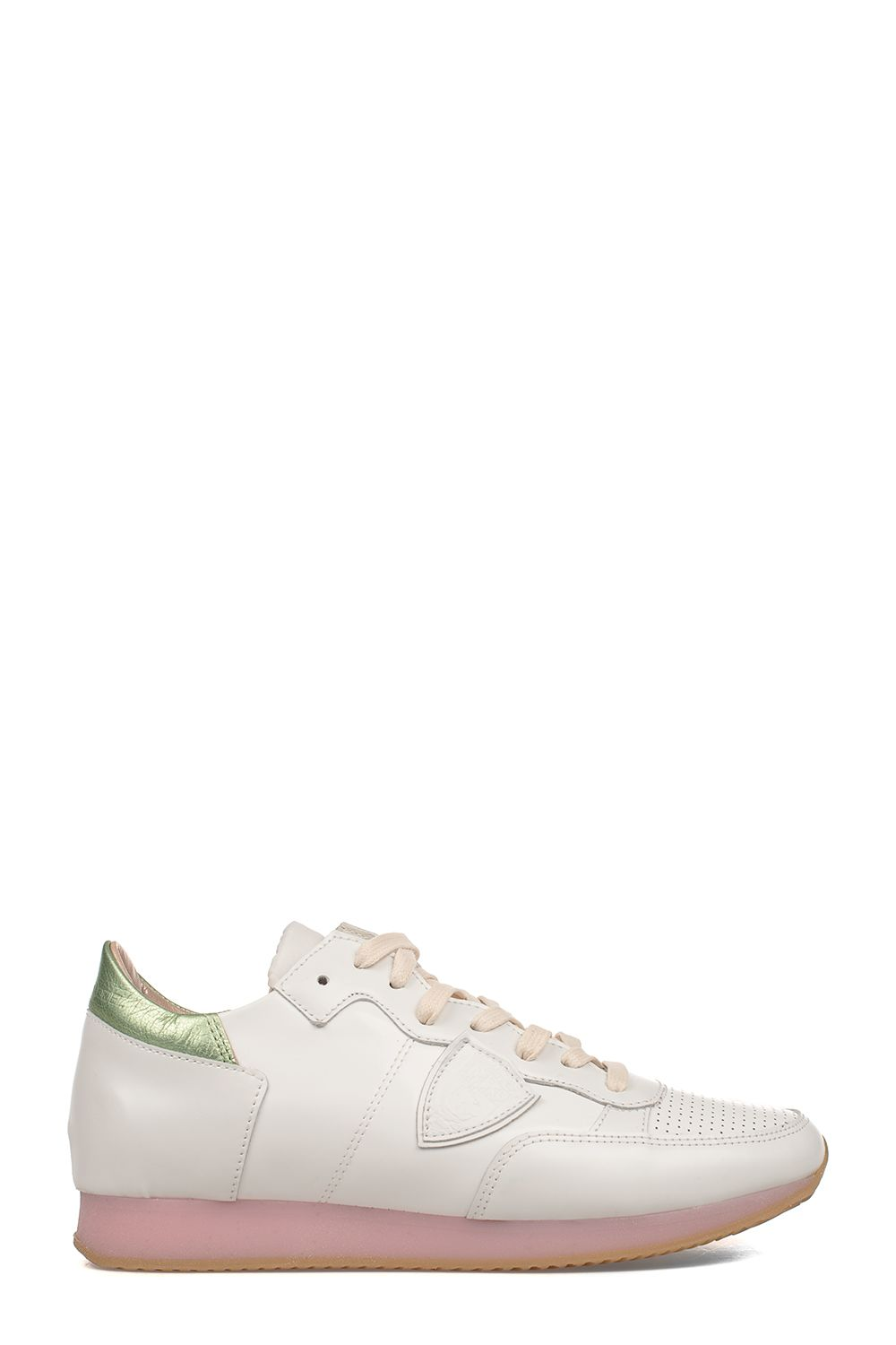 White/green Tropez Worls Leather Sneakers