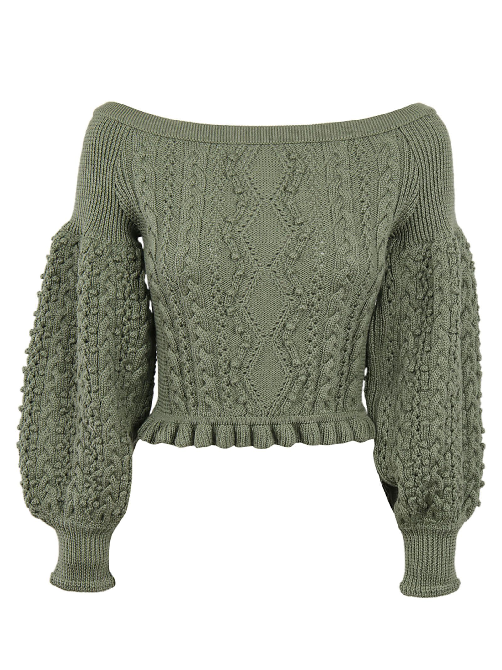 Valentino Aran Knit Off-shoulder Sweater