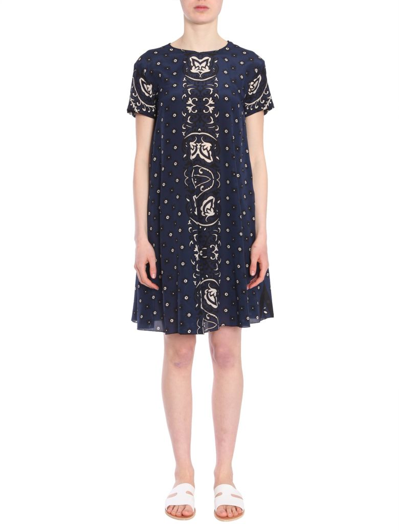 Bandana-Print Silk Georgette Dress, Blu