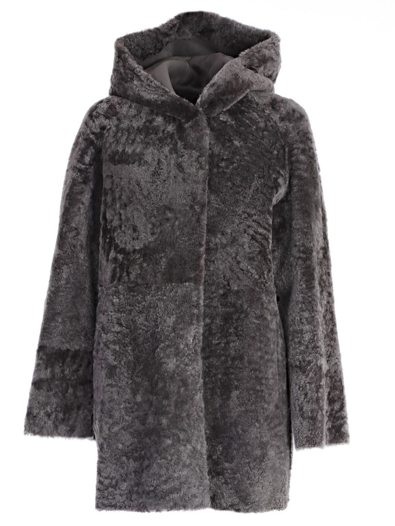 Drome Montone Hooded Coat, Grey