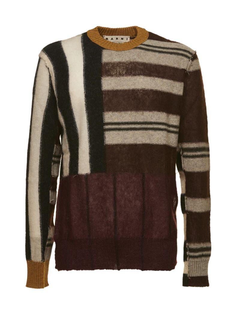 MARNI Patchwork Stripe Wool-Blend Sweater, Multicolor