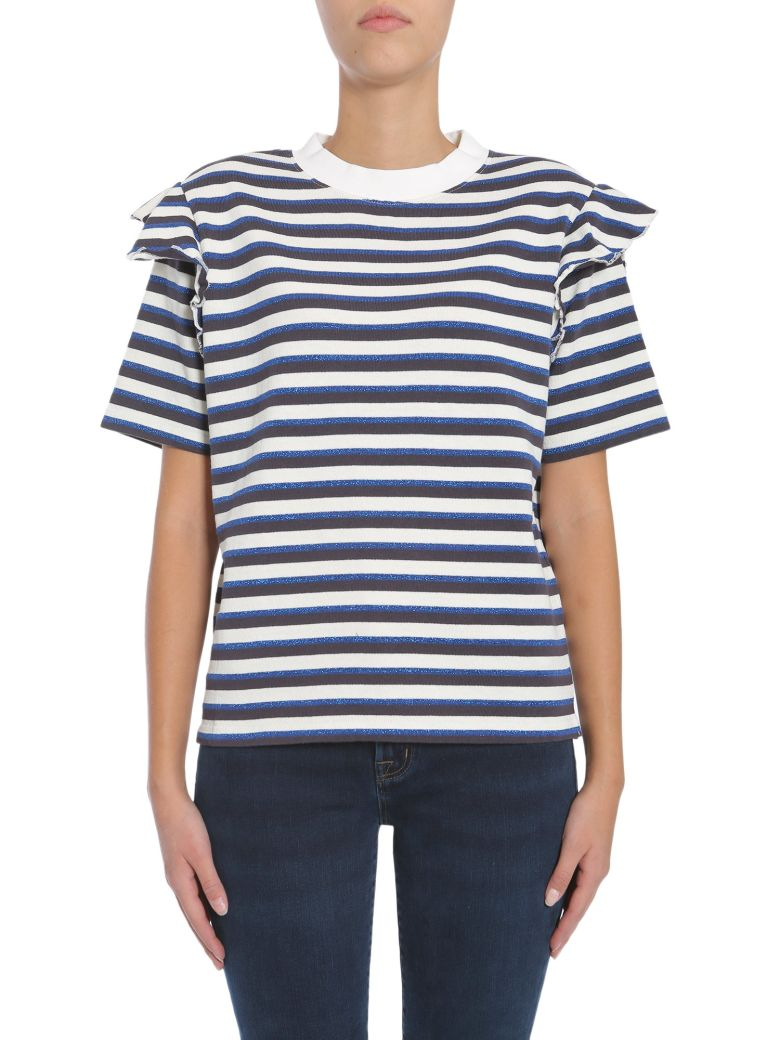 KITSUNÉ Striped T-Shirt in Blu