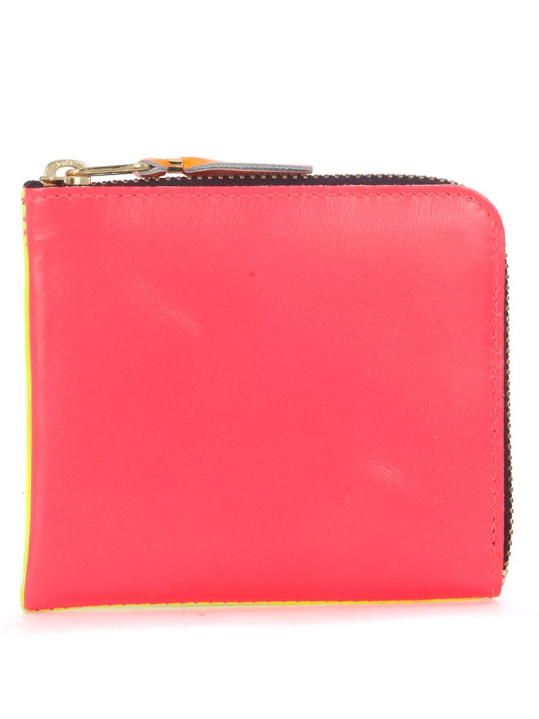 COMME DES GARÇONS WALLET PINK AND YELLOW FLUO LEATHER WALLET