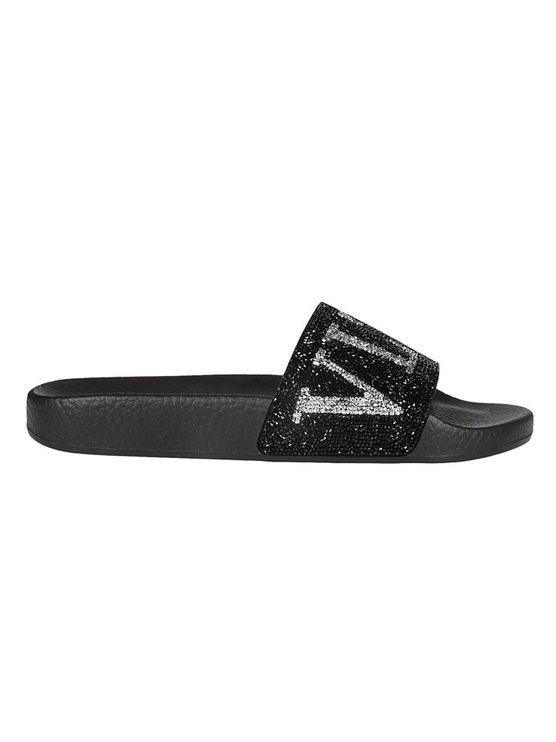 6add629c5b0 Valentino Vltn Crystal-Embellished Pool Slide Sandal In Black