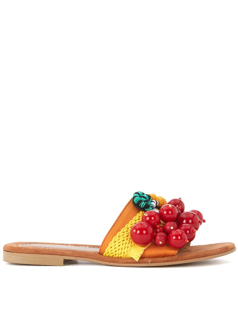 Elina Linardaki Elina Linardaki Cherry Picker Leather And Textile Sandal With Decorations