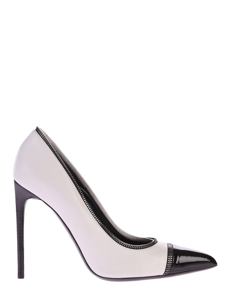 WHITE AND BLACK ZIPPED PUMPS