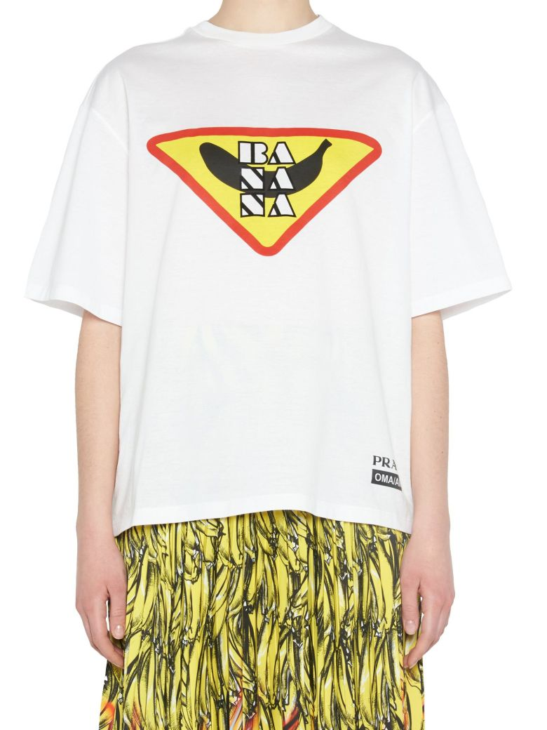 Banana-Print Jersey T-Shirt in White