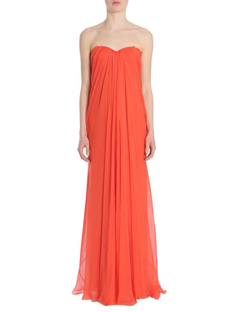 Strapless Silk Chiffon Gown, Rosso