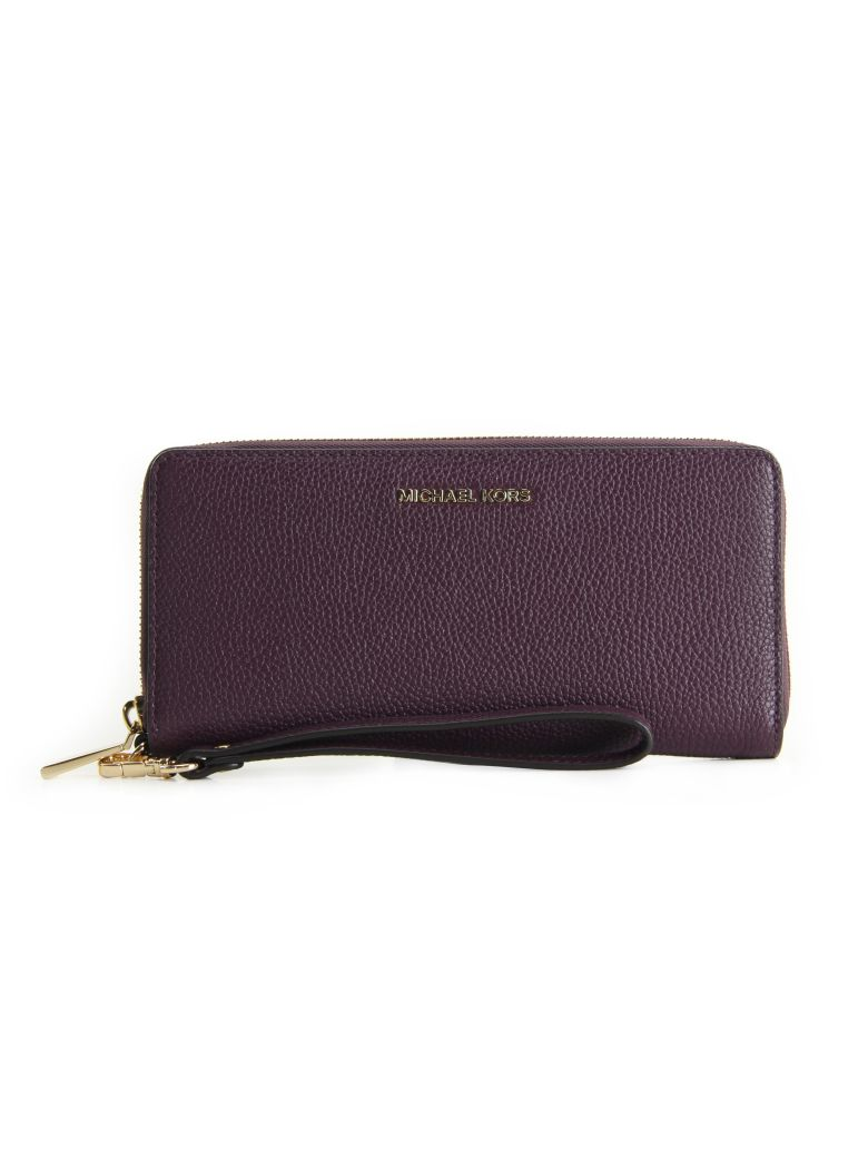 JET SET TRAVEL CONTINENTAL LEATHER WALLET MICHAEL MICHAEL KORS DAMSON