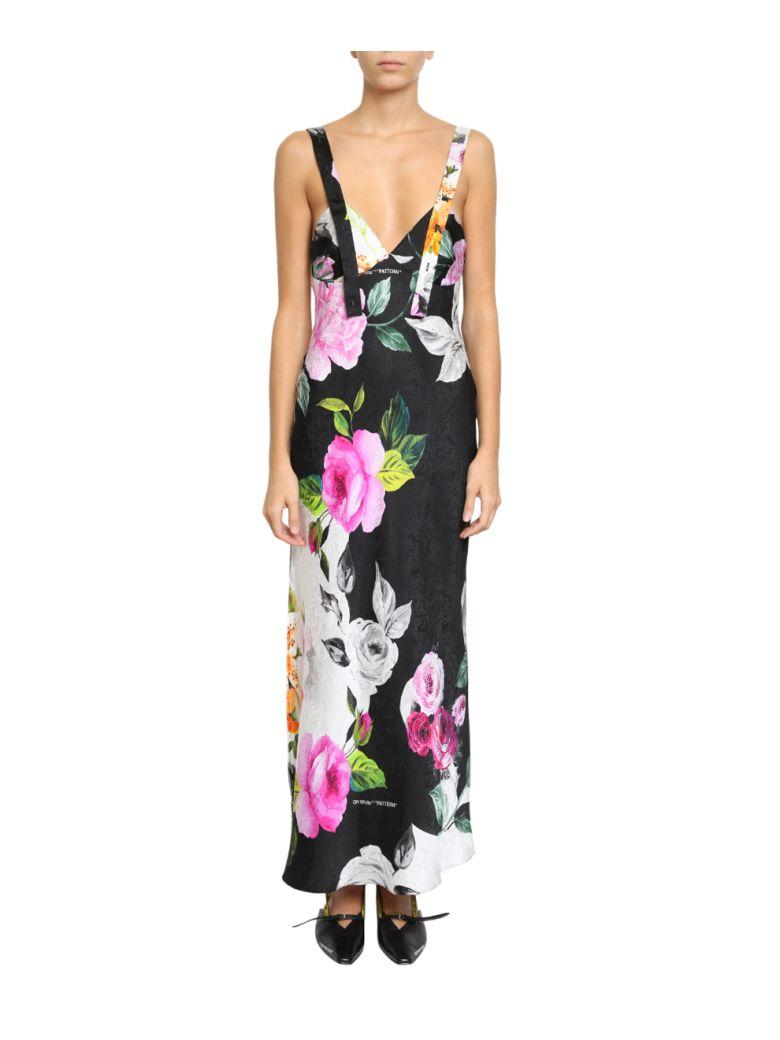 Floral Print Silk Jacquard Dress, Nero