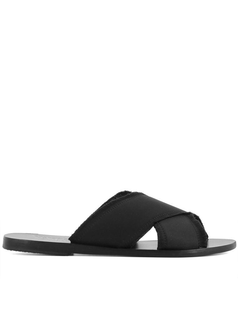 Ancient Greek Sandals Leathers BLACK FABRIC SANDALS