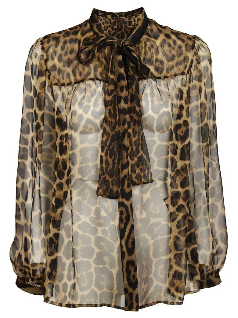 Long-Sleeve Button-Down Leopard-Print Sheer Silk Blouse With Neckties in Brown