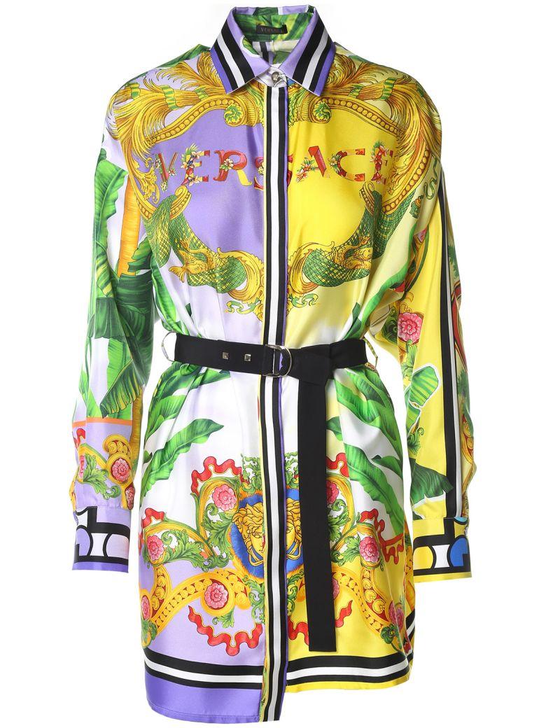Versace  PRINTED SILK-TWILL SHIRT DRESS