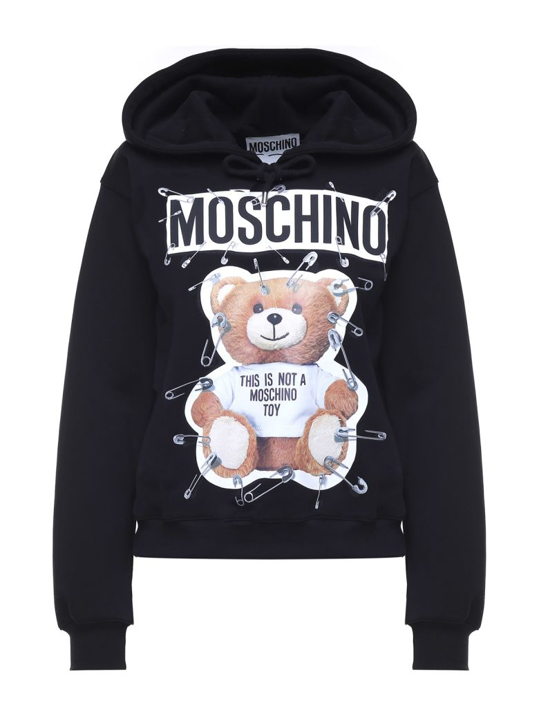 Moschino Cottons SAFETY PIN TEDDY COTTON-JERSEY HOODIE
