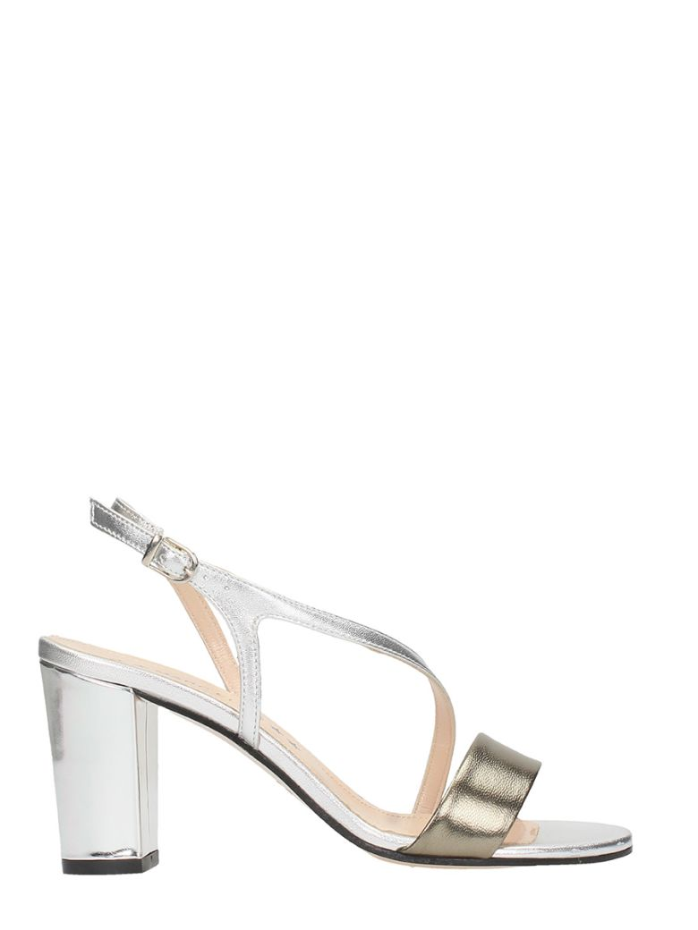 SILVER CALF LEATHER SANDALS